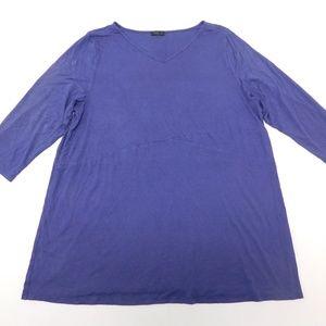 J. Jill 4X Purple Tunic Top V Neck Rayon Blend